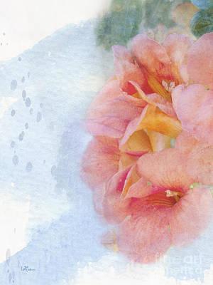 Digital Watercolor Photograph - Trumpet Flowers #3 by Betty LaRue