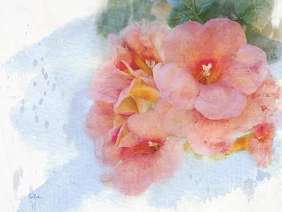 Digital Watercolor Photograph - Trumpet Flowers #4 by Betty LaRue