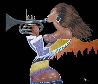 On Cavas Painting - Trumpet Lady by Donald Lyons