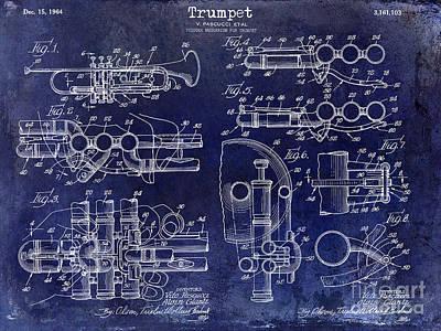Trumpet Patent Drawing Blue Art Print