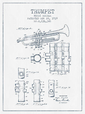 Ink Drawing Digital Art - Trumpet Patent From 1939 - Blue Ink by Aged Pixel