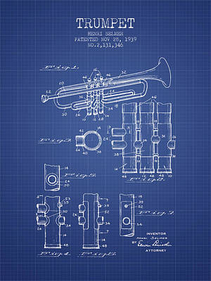 Trumpet Digital Art - Trumpet Patent From 1939 - Blueprint by Aged Pixel