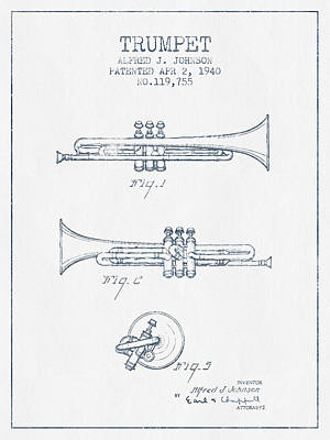 Ink Drawing Digital Art - Trumpet Patent From 1940 - Blue Ink by Aged Pixel