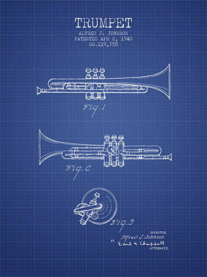 Trumpet Digital Art - Trumpet Patent From 1940 - Blueprint by Aged Pixel