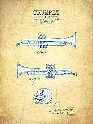 Trumpet Digital Art - Trumpet Patent From 1940 - Vintage Paper by Aged Pixel