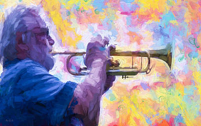 Mixed Media - Trumpet Player by Bob Orsillo