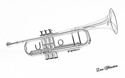 Digital Art - Trumpet Sketch  by Louis Ferreira