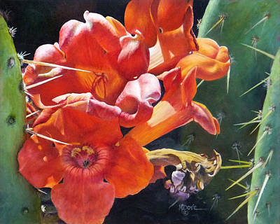 Painting - Trumpet Vine And Donkey Ears Cactus by Mary Dove