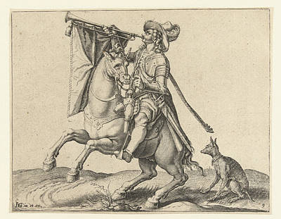 Trombone Drawing - Trumpeter On Horseback, Jacob De Gheyn II by Jacob De Gheyn Ii