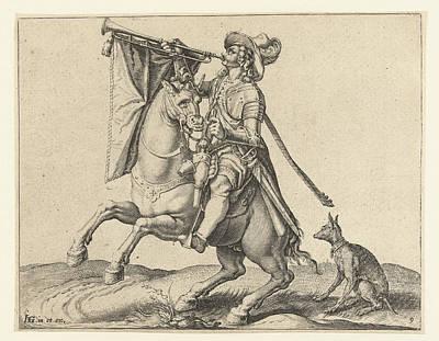 Trombone Drawing - Trumpeter On Horseback, Jacob De Gheyn II by Jacob De Gheyn Ii