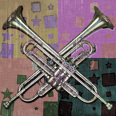 Trumpet Digital Art - Trumpets And Stars Abstract by David G Paul