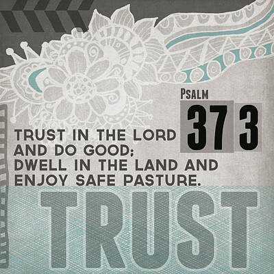 Mixed Media Rights Managed Images - Trust In The Lord- Contemporary Christian Art Royalty-Free Image by Linda Woods