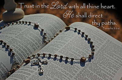 Photograph - Trust In The Lord Footprints Rosary Bible by Robyn Stacey