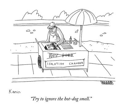 Hot Dogs Drawing - Try To Ignore The Hot-dog Smell by Zachary Kanin