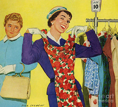 50s Drawing - Trying On Dresses 1950s Uk Woman by The Advertising Archives