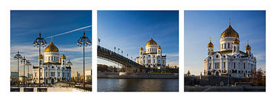 Tryptich - Cathedral Of Christ The Savior Of Moscow City - Features 3 Art Print by Alexander Senin
