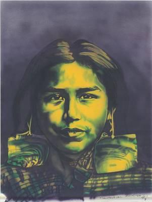 Indian Tribal Art Painting - Tsawatenok Girl by Louis Garding