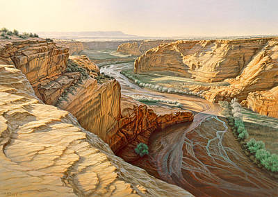 Navajo Painting - Tsegi Overlook - Canyon De Chelly by Paul Krapf
