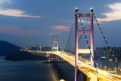 Hong Kong Photograph - Tsing Ma Bridge At Night - Hong Kong by Matteo Colombo