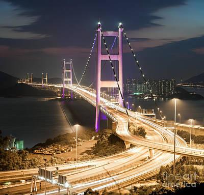 Hong Kong Photograph - Tsing Ma Bridge Hong Kong by Matteo Colombo