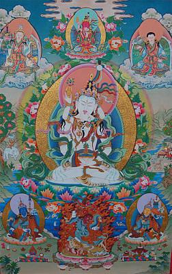 Vajrayana Painting - Tsokye Thugtik Dudjom Tersar Lineage by Binod Art School