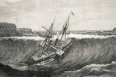 Tsunami And La Plata Steamship Art Print