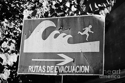 Tsunami Hazard Warning Zone Evacuation Route Sign Constitucion Chile Art Print by Joe Fox