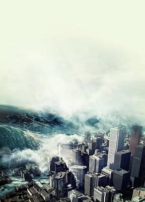 Tsunami Hitting A City Art Print by Victor Habbick Visions