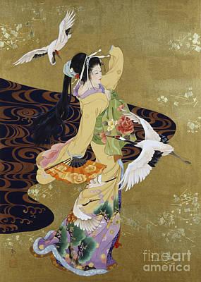 Oriental Digital Art - Tsuru No Mai by Haruyo Morita