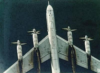 Socialist Mixed Media - Tu-95 Soviet Bomber Enhanced Upsized  by L Brown