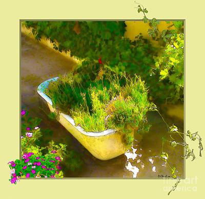 Walkway Digital Art - Tub Of Cactus by Debra Chmelina