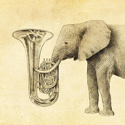 Yellow Wall Art - Drawing - Tuba by Eric Fan