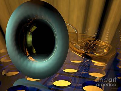 Mixed Media - Tuba Goes Disco by R Muirhead Art
