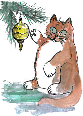 Fruits And Vegetables Still Life - Tubby the kitty Taps a Gold Ornament by Ellen Miffitt