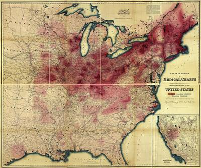 1870s Photograph - Tuberculosis In The Usa by Library Of Congress, Geography And Map Division