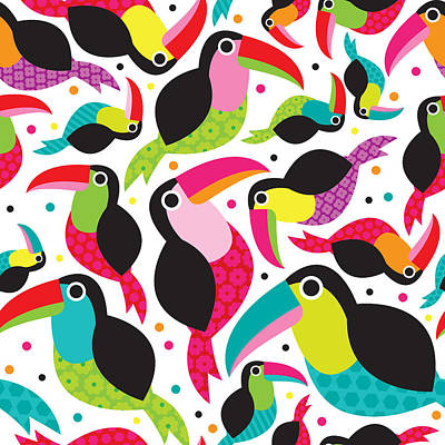 Adorable Digital Art - Tucan Birds Illustration by Little Smilemakers Studio