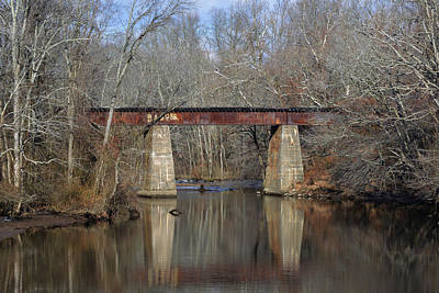 Photograph - Tuckahoe Creek Railroad Bridge In Winter by Bill Swartwout