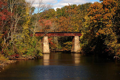 Photograph - Tuckahoe River Railroad Bridge In Fall by Bill Swartwout