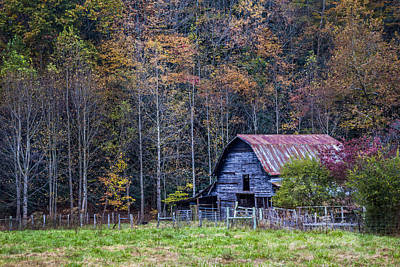 Barn In The Woods Photograph - Tucked Into Fall by Debra and Dave Vanderlaan