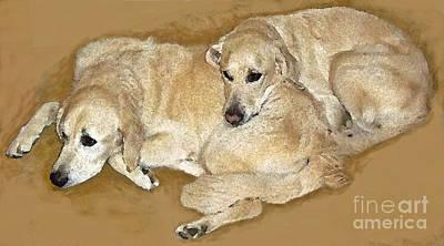 Snuggle Digital Art - Tucker And Levi by Maureen Tillman