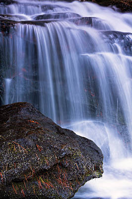 Pine Needles Photograph - Tucker Brook Falls With Boulder. by Jeff Sinon