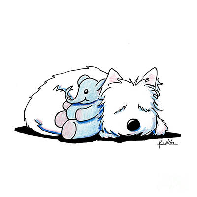 Westie Terrier Drawing - Tuckered Out by Kim Niles
