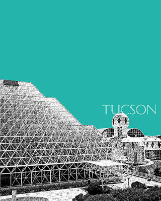 Pen Digital Art - Tucson Biosphere 2 - Teal by DB Artist