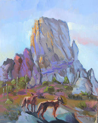 Painting - Tucson Butte With Two Coyotes by Suzanne Cerny