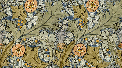 Blue Flowers Painting - Tudor Roses Thistles And Shamrock by Voysey
