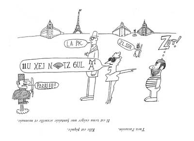 Abstract Hearts Drawing - Tuez L'assassin. Elle Est Piquee.  Il Est Venu by Saul Steinberg