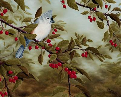 Titmouse Painting - Tufted Titmouse by Rick Bainbridge