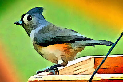 Titmouse Digital Art - Tufted Titmouse by Stephen Younts