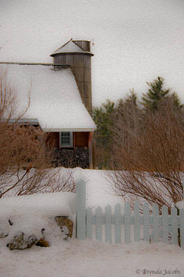 Art Print featuring the photograph Tuftonboro Farm In Snow by Brenda Jacobs