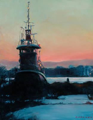 Philadelphia Scene Painting - Tug At Rest by Jesse Gardner
